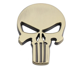 Emblema Adesivo Metálico Caveira Punisher Justiceiro