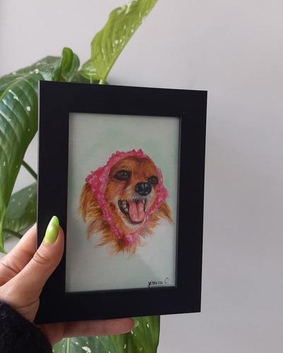 Imagem 1 de 2 de Quadro A6 Pintado Em Aquarela Do Seu Pet! (encomendas)