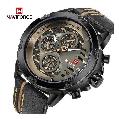 Relógio Naviforce Original Esportivo Pulseira Couro Top Luxo