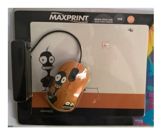 Mouse Ótico Usb Maxprint + Base - Pcs E Notebook Novo