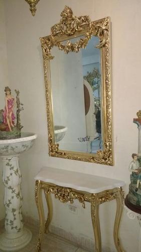 Consola Y Espejo Pan De Oro