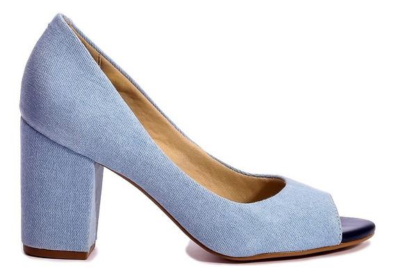 Peep Toe Salto Grosso Jeans Promoção Por Apenas R$ 99,90!!!