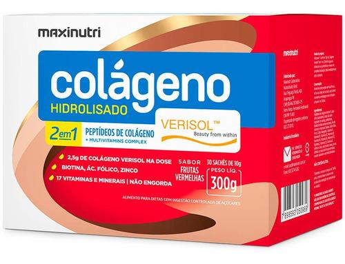 Colágeno Hidrolisado 2em1 Verisol® Frutas Vermelhas 30 Sachês Maxinutri