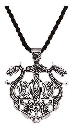 Dragón Collar Haquil Viking Metal Dragón Doble Colgante D