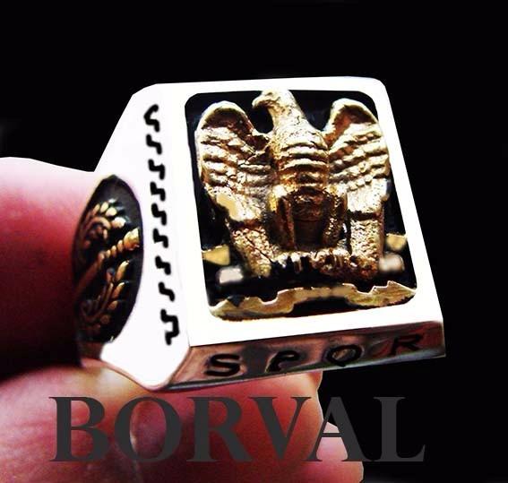 Anel Romano S.p.q.r. Prata 925 Banho De Ouro, Coleção Roma