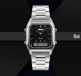 Relógio Masculino Skmei 3atm Anadigi 1220 - Aço Inox E Preto