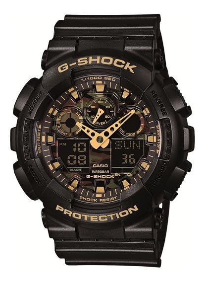 Relógio Casio Gshock Masculino Ga100cf Preto Dourado Militar