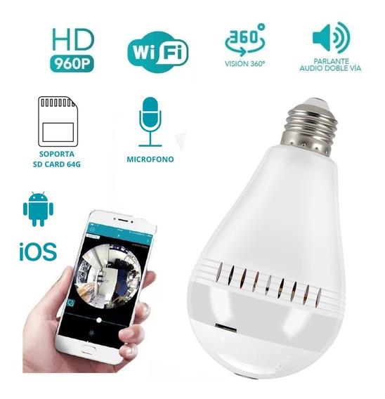 Foco Lámpara Led Ip Cámara Wi-fi Espía Hd 360° Graba Microfo