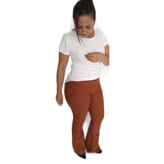 Calça Bandagem Cintura Alta Flare Grossa E Alta Compressão