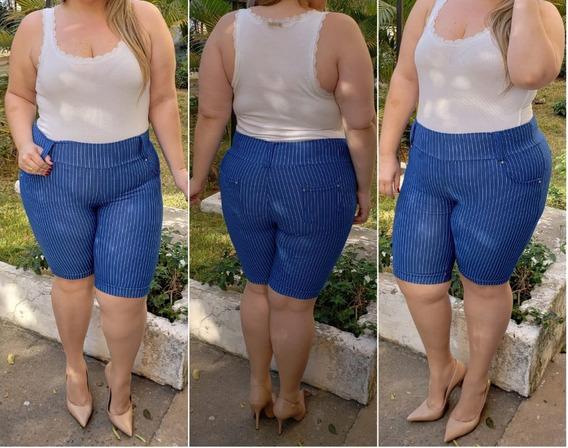 Kit C/8 Bermuda Feminina Cotton Jeans Plus Size