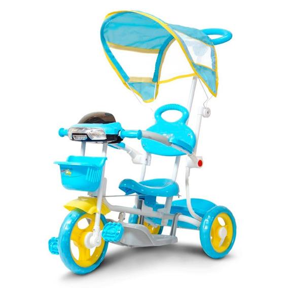 Triciclo Infantil 2 Em 1 Haste Para Empurrar E Pedal Azul