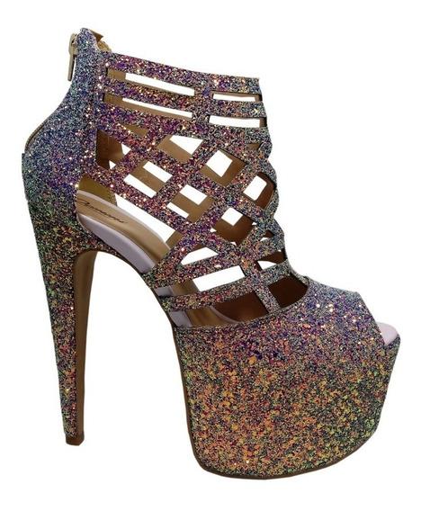 Sandália Feminina Salto Alto Glitter Tamanhos 41 42 43