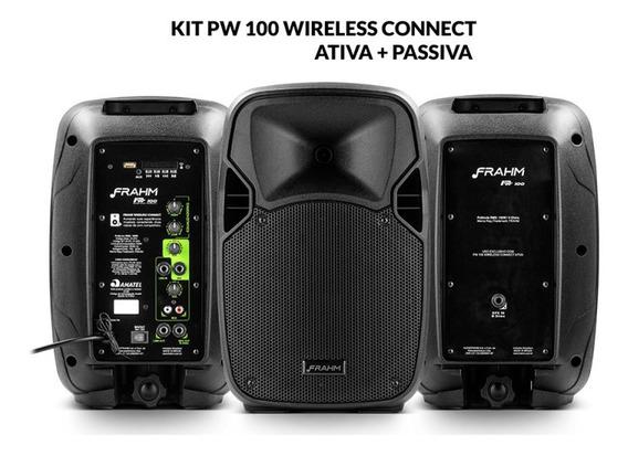 Kit Caixa De Som Pw 100 Wireless Ativa + Passiva 200w Rms