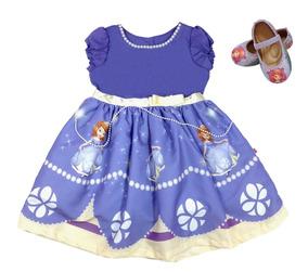 Vestido Roupa Festa Infantil Princesa Sofia +sapatilha