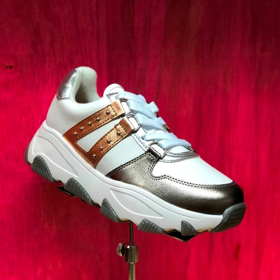 Tênis Feminino Vizzano Sneaker Branco Ouro Cinza Metalizado