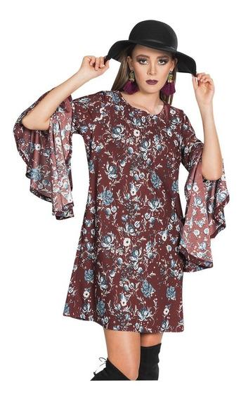 Vestidos Mujer Moda Casuales Floreado Rojo Oscuro S83117
