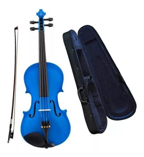 Imagen 1 de 6 de Violin Cervini Hv100 4/4 Azul Estuche Arco Resina By Cremona