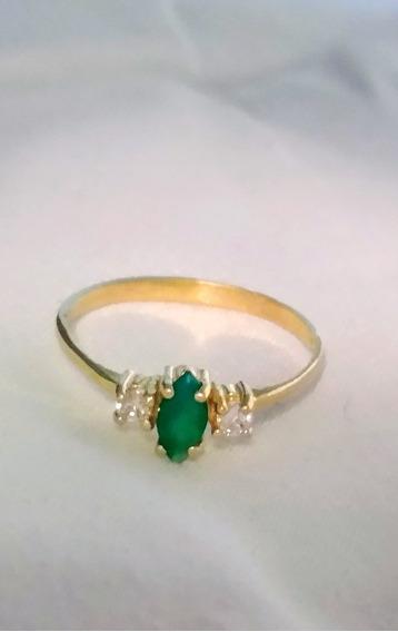 Anillo De Oro Amarillo 14k Esmeralda Y Diamantes