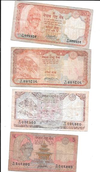 Liquido Lote De 4 Billetes De Nepal.