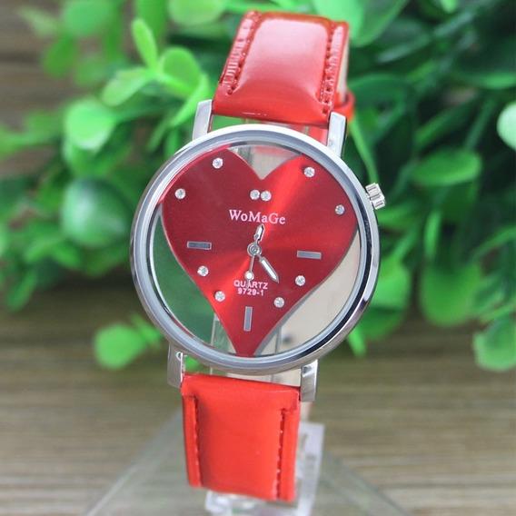 Relógio Feminino Formato Coração Com Detalhes Em Strass