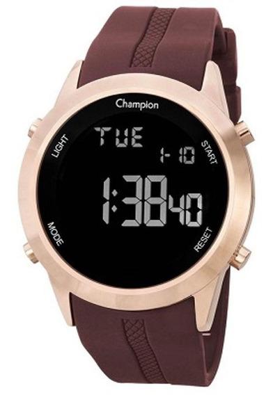 Relógio Champion Masculino Digital Silicone Rosé Marrom