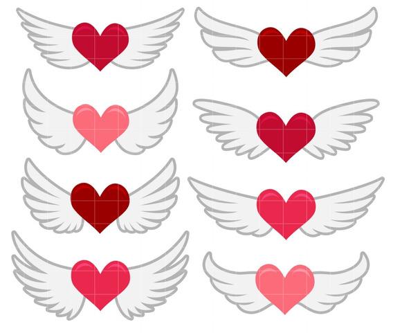 Kit Imágenes Digitales Corazones Con Alas Winged Hearts