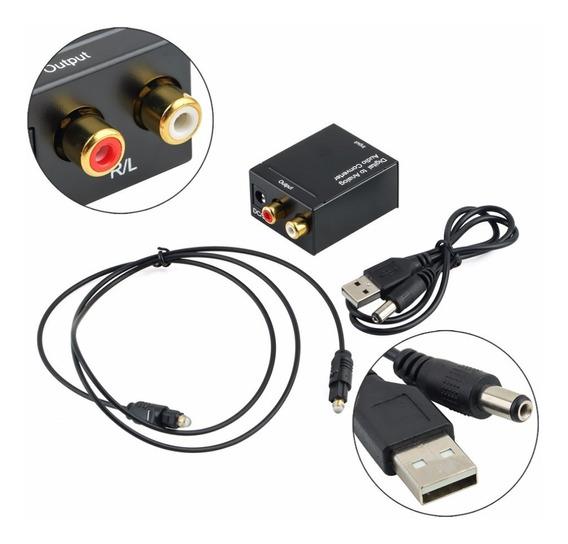 Kit Adaptador Conversor Óptico Toslink Coaxial Digital X Rca