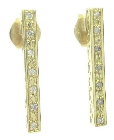 Joianete B9112-60826 Brinco Ouro Retângulo Fino Brilhantes