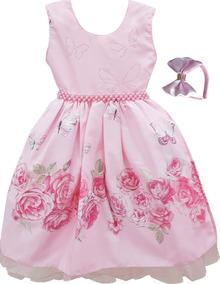 Vestido Festa Infantil Floral Daminha Super Luxo 4 Ao 16