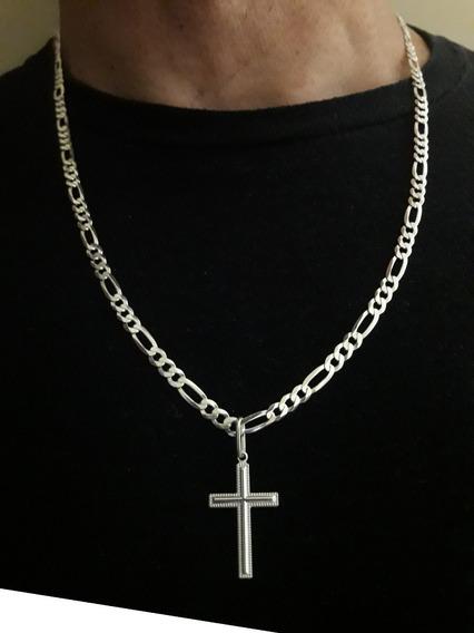 Corrente Groumet 3x1 60cm Em Prata 925 + Crucifixo + Brinde