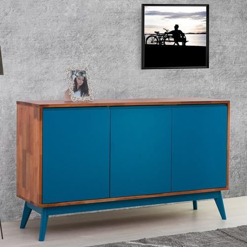 Buffet 3 Portas Safira Imperador Móveis Natural/azul Je