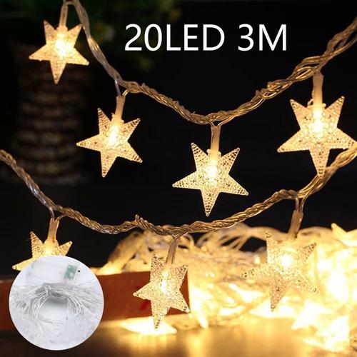Imagen 1 de 9 de Luz Exterior Adorno 20 Las Luces De Estrella 3m Decorativas