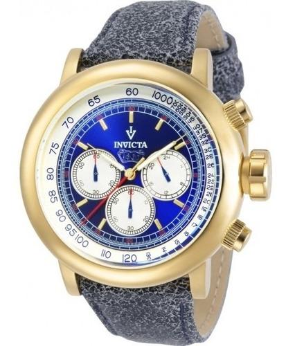 Invicta Vintage 13057 Pulseira Couro Azul Gold 18k