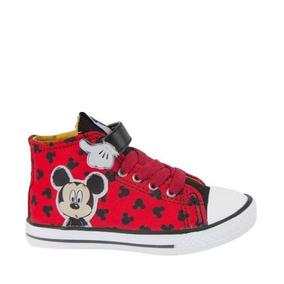 Tenis Casual Tipo Bota Mickey Color Rojo De Niño Comodos