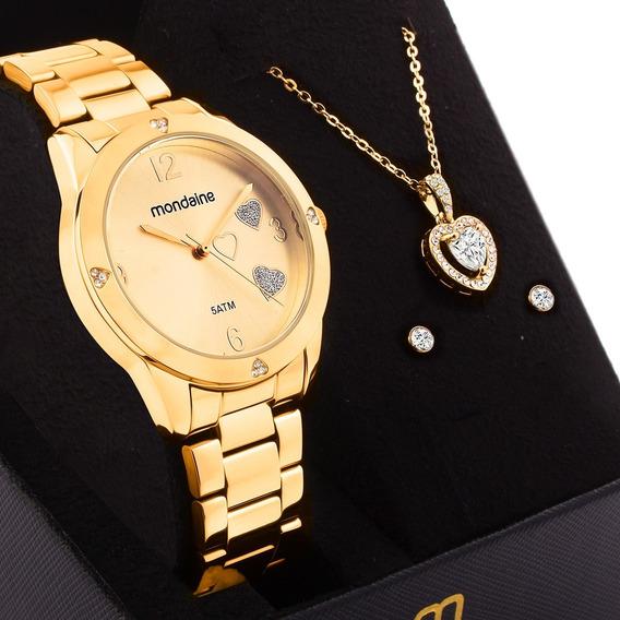 Kit Relógio Feminino Mondaine Dourado 99400lpmkde1k1