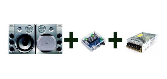 Caixas De Som 300 Watts + Amplificador Bluetooth + Fonte