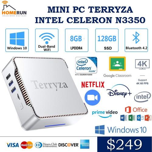 Mini Pc Terryza Intel N3350 8gb Ram/128 Gb Ssd Bt Win10 Wifi