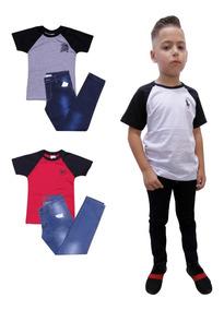 Conjunto Infantil Masculino Menino Camisa E Calça Jeans C 3