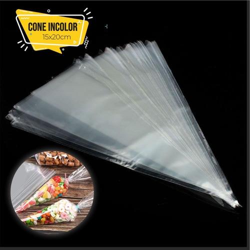 Imagem 1 de 1 de 50 Sacos Plastico Cone Cenourinha Incolor 15x20 Cone Doces