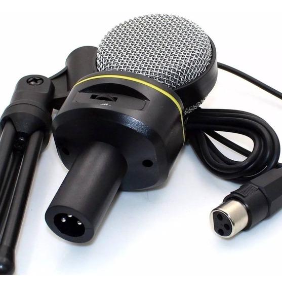 Atacado Com 10 Microfone Condensador P2 + Tripé Gravação