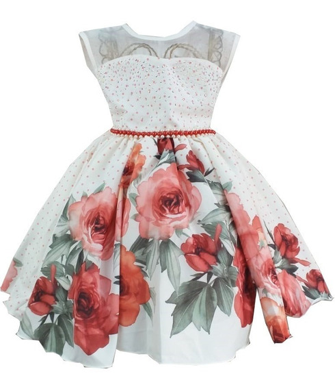 Vestido Vermelho Floral Casamento Festa Formatura C1414