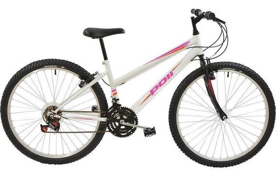 Bicicleta Polimet Mtb Aro 26 Feminina Branca