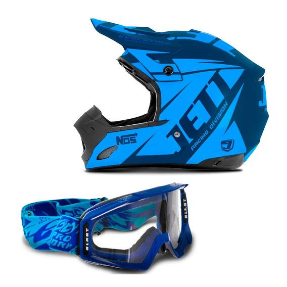 Capacete Th1 Jett Evolution Motocross + Óculos Pro Tork