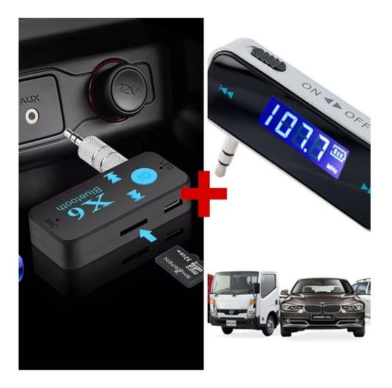 Receptor De Áudio Bluetooth P2 + Mini Transmissor Fm P2