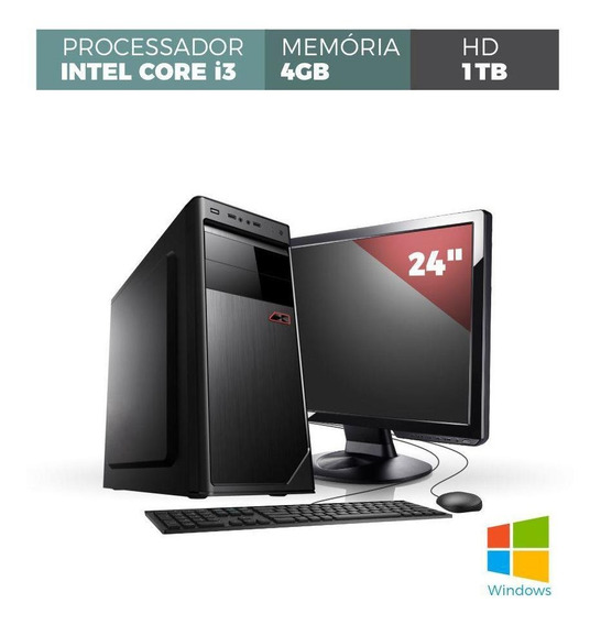 Computador Corporate Intel Core I3 2.93ghz Memória 4gb Ddr3 Hd 1tb Monitor Led 23.8 Full Hd Teclado E Mouse Com Windows