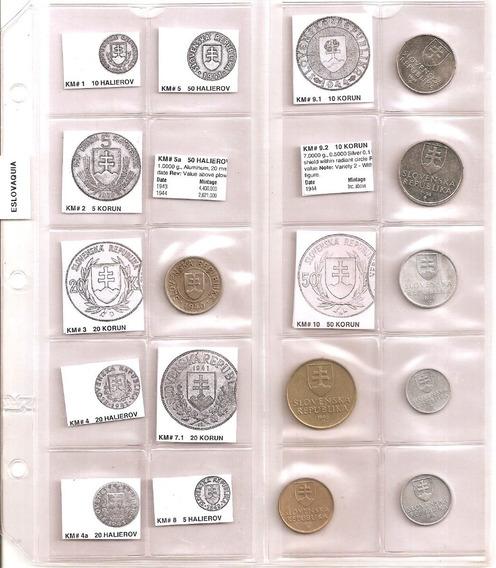 Eslovaquia, Coleccion De 18 Monedas En 2 Hojas