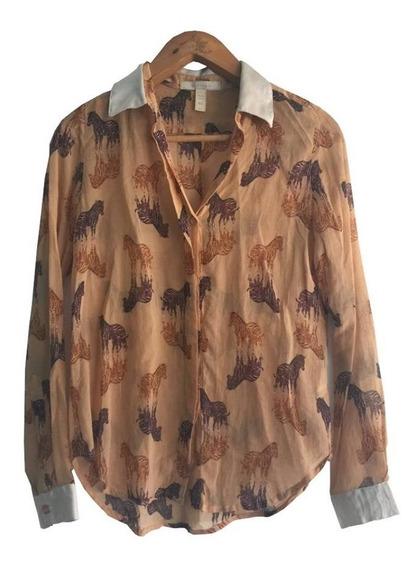 Camisa Blusa Marrón Con Cebras Combinada Kosiuko