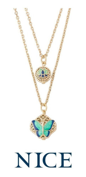 Nice Collar Doble Cadena Con 2 Dijes Mariposa Baño Oro 18k