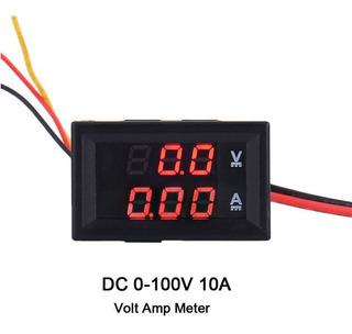 Voltimetro + Amperimetro Digital 0-100v Dual Led 10 Amps Dc