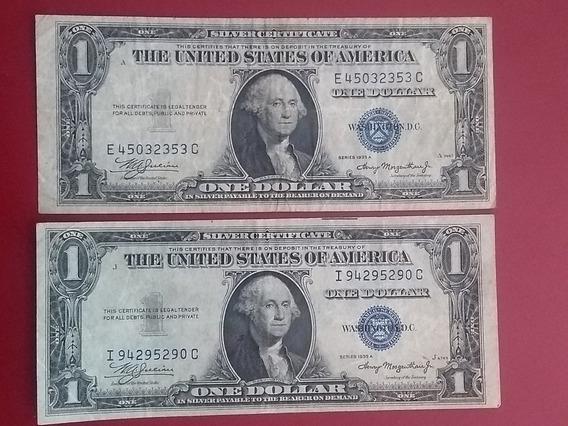 Billetes De 1 Dólar Año 1935 Selló Azul Con Error